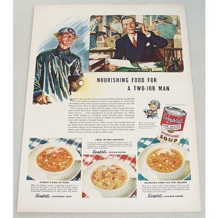 1943 Campbell's Chicken Gumbo Soup Color Print Ad