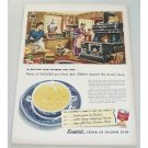 1951 Campbell's Cream Of Chicken Soup Old Time Farm Kitchen Art Color Print Ad