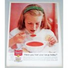1958 Campbells Tomato Soup Color Print Ad - Had Soup Today?