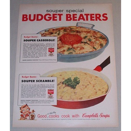 1958 Campbell's Soup Color Print Ad - Budget Beaters