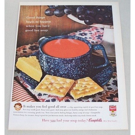 1961 Campbell's Vegetable Beef Soup Cheese Crackers Color Print Ad