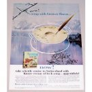 1962 Knorr Cream of Leek Soup Winter Lake Scene Color Ad - Faraway Flavor