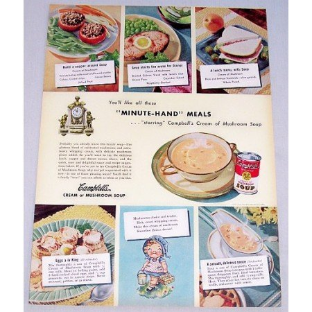 1948 Campbells Cream Of Mushroom Soup Color Print Ad
