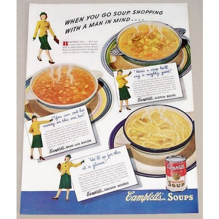 1942 Campbell's Chicken Noodle Soup Color Print Ad - Soup Shopping