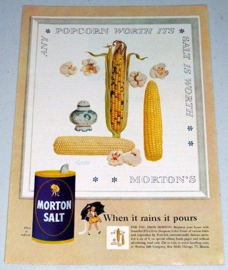 1954 Morton Salt Indian Corn Popcorn Art Color Print Ad