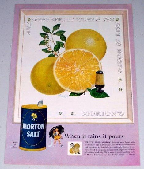 1954 Morton Salt Grapefruit Art Color Print Ad