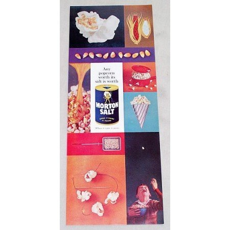 1960 Morton Salt Color Print Ad - Any Popcorn Worth....