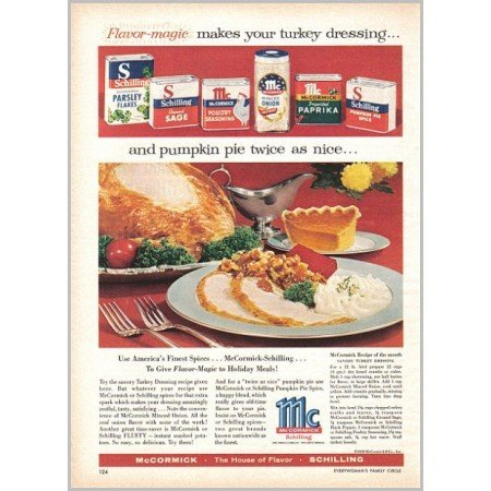 1959 McCormick Schilling Spice Color Print Ad - Flavor Magic
