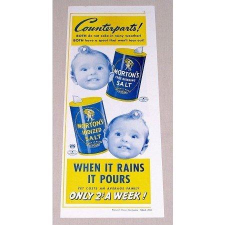 1941 Morton's Salt Color Print Ad - Counterparts!