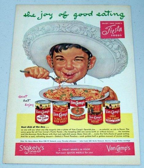 1952 Stokely's Van Camps Fiesta Foods Mexican Art Vintage Color Food Print Ad