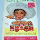 1952 Stokely's Van Camps Fiesta Foods Mexican Art Vintage Color Food Print Ad