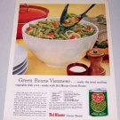 1960 Del Monte Blue Lake Cut Green Beans Color Print Ad