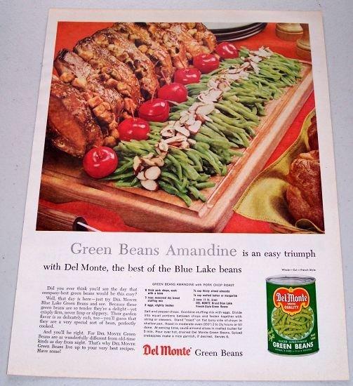 1957 Del Monte Green Beans Color Print Ad