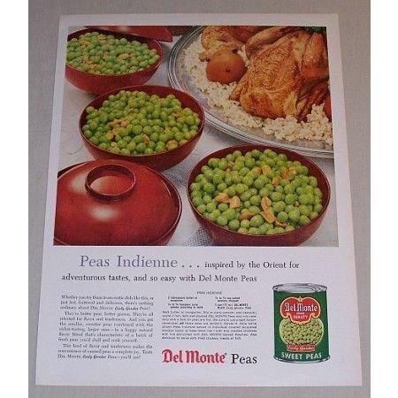 1958 Del Monte Sweet Peas Color Print Ad - Peas Indienne