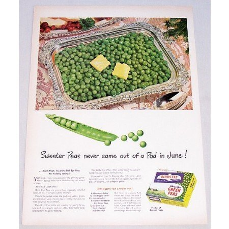 1948 Birds Eye Green Peas Color Print Ad - Pod In June