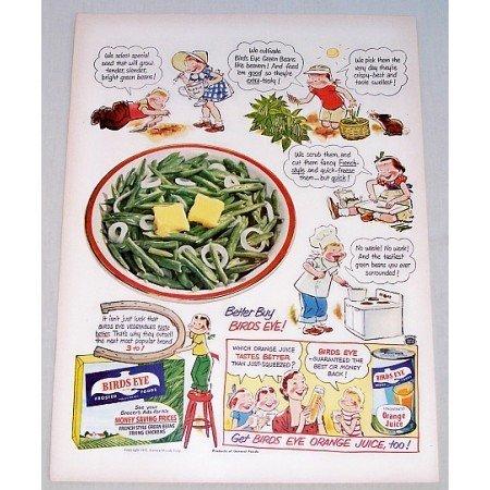 1951 Birds Eye Green Beans Color Cartoon Art Print Ad