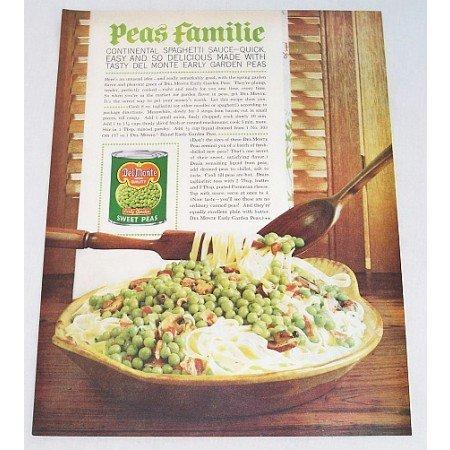 1961 Del Monte Sweet Peas Spaghetti Recipe Color Print Ad