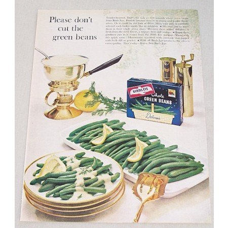 1961 Birds Eye Whole Green Beans Color Print Ad