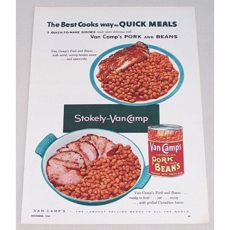 1955 Van Camp's Pork and Beans Spare Ribs Bacon Color Print Ad