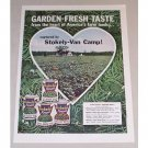 1958 Stokely's Van Camps Green Beans Color Print Ad
