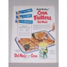 1950 Del Maiz Golden Corn Corn Fritters Recipe Color Print Ad