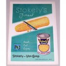 1953 Stokely's Golden Corn Color Print Ad - Heat Eat Enjoy