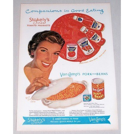 1952 Stokely's Van Camps Pork And Beans Color Print Ad