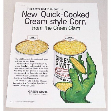 1960 Green Giant Cream Style Corn Color Print Ad