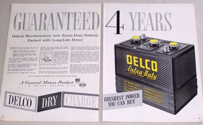 1955 GM Delco Extra Dry Battery 2 Page Color Print Ad
