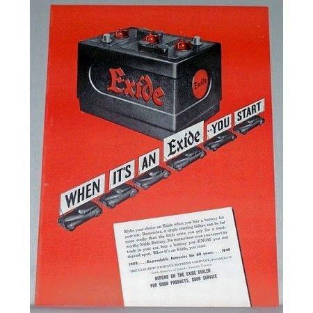 1948 Exide Battery Color Print Ad