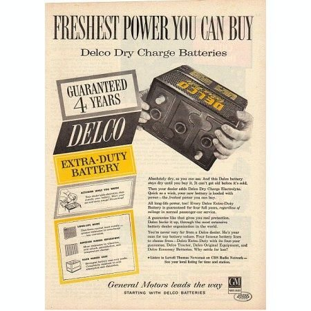 1955 Delco Dry Charge Batteries Vintage Color Print Ad - Freshest Power