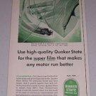 1954 Quaker State Motor Oil Vintage Color Print Ad