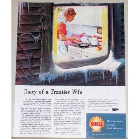 1945 Shell Research Vintage Color Print Ad - Diary Of A Frontier Wife