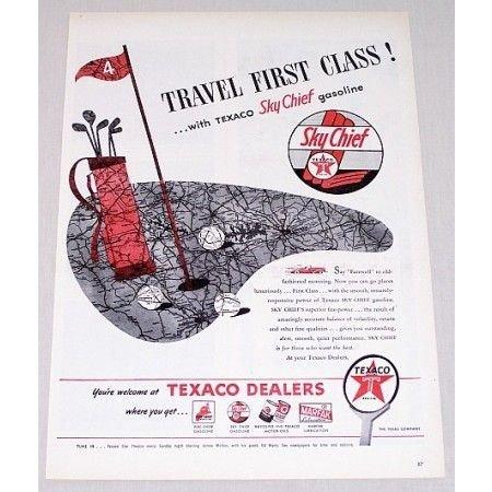 1946 Texaco Sky Chief Gasoline Golf Art Vintage Color Print Ad - Travel First Class