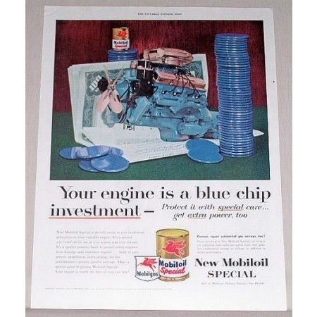 1955 Mobil Oil Special Vintage Color Print Ad - Blue Chip Investment