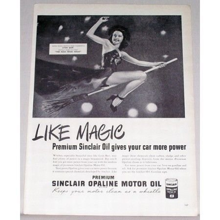 1947 Sinclair Motor Oil Vintage Print Ad Celebrity Lynn Bari