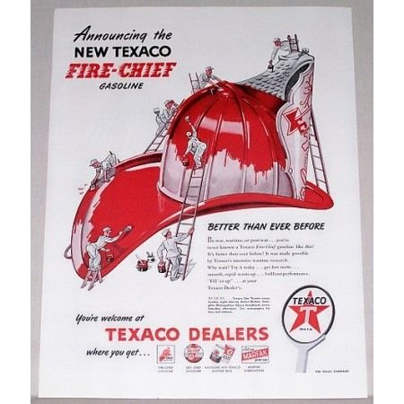 1946 Texaco Fire Chief Gas Firefighter Hat Art Vintage Color Print Ad