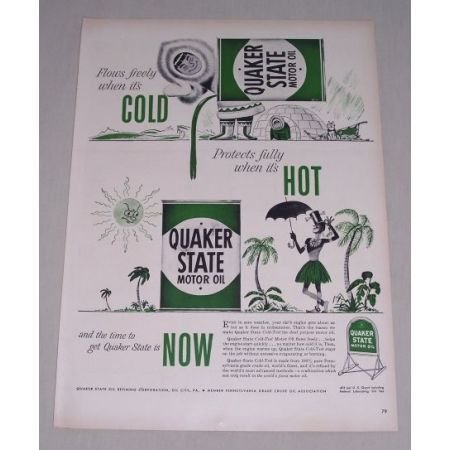 1949 Quaker State Motor Oil Eskimo Hawaii Art Vintage Color Print Ad