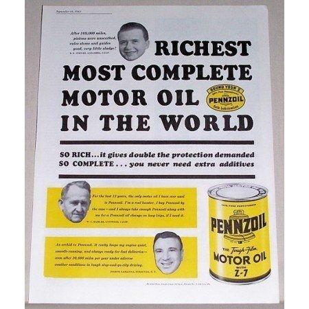 1961 Pennzoil Motor Oil Vintage Color Print Ad - Richest Most Complete