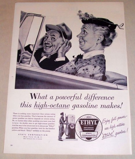 1954 Ethyl Corp. Gas Oil Art Vintage Print Ad