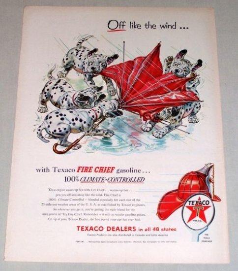 1954 Texaco Gas Oil Dalmatians Pups Dogs Animal Art Vintage Color Print Ad