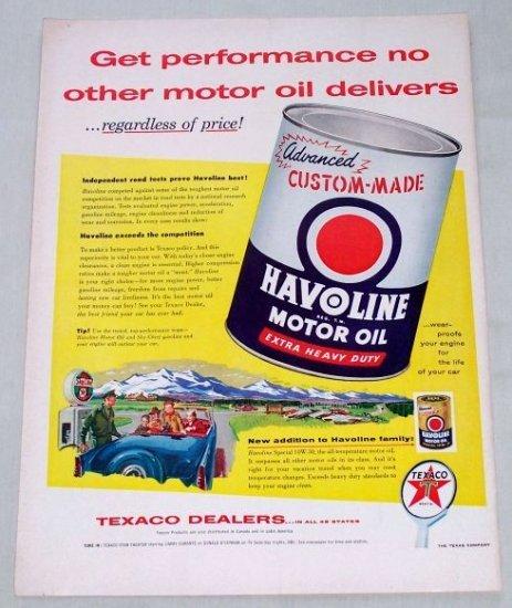 1955 Texaco Dealers Havoline Motor Oil Vintage Color Print Ad