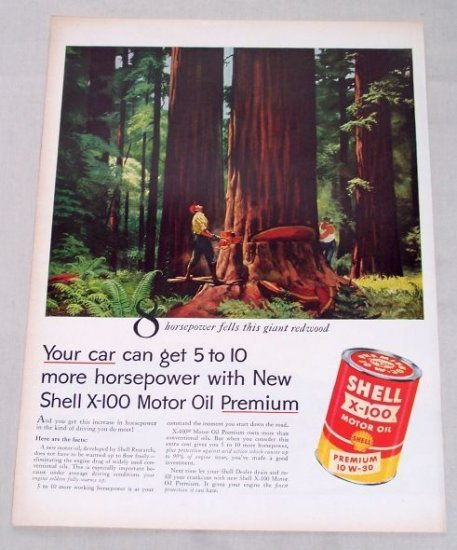 1955 Shell X100 Motor Oil Color Logging Redwood Art Vintage Color Print Ad