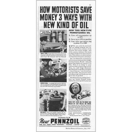 1935 Pennzoil Motor Oil Vintage Print Ad - New Kind Of Oil