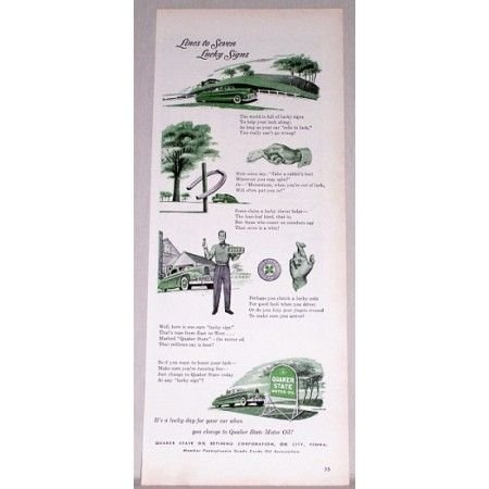 1948 Quaker State Motor Oil Color Art Ad - Lucky Signs