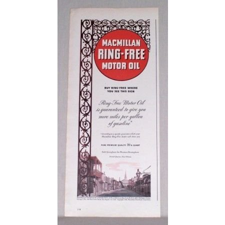 1944 MacMillan Ring Free Motor Oil Vintage Color Print Ad - New Orleans
