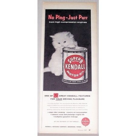 1957 Superb Kendall Motor Oil Can White Cat Vintage Color Print Ad