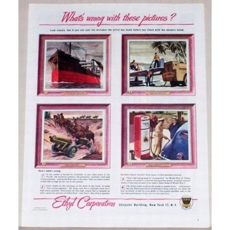 1945 Ethyl Corp. Vintage Color Print Ad - Whats Wrong With These Pictures?
