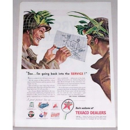 1945 Texaco Dealers Wartime Vintage Color Print Ad - Back Into Service