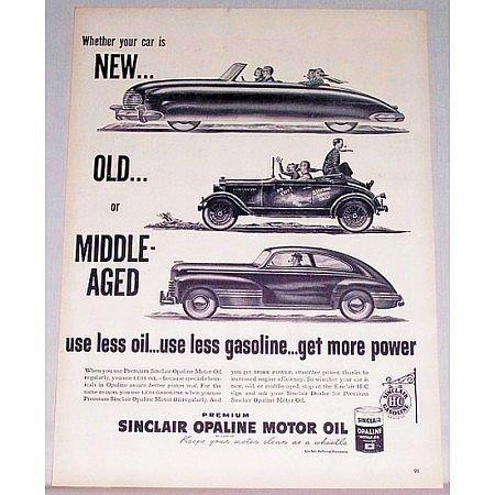 1948 Sinclair Opaline Motor Oil Vintage Print Ad - Use Less Oil
